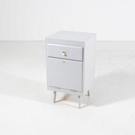 Painted Grey one Drawer one Drop Flap Door Splay Leg Bedside Cabinet