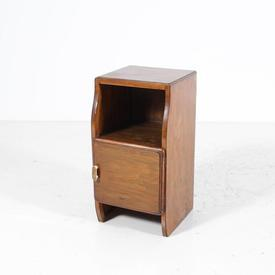 Walnut 1 Curved Door Bacolite Handle Bedside Cabinet with Glass Top