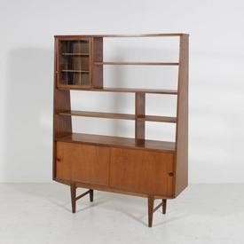 165Cm X 121Cm Teak 3 Door (1 Glazed) Open Top Display Unit