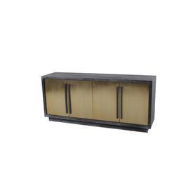 180Cm X 80Cm Black Ash Frame 4 Gold Doors Sideboard