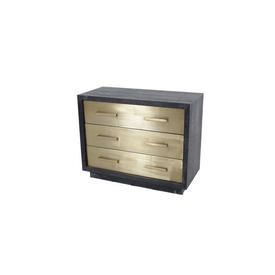 100Cm X 80Cm Black Ash Frame 3 Gold Drawer Chest