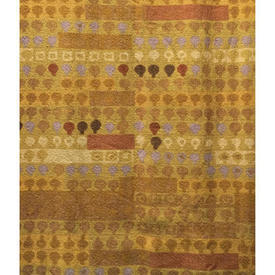 """Pair Drapes 3'3"""" x 6' Mustard Heal's Cherry Orchard Abstract Stripe"""
