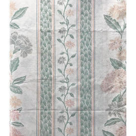 """Pair Drapes 3'7"""" x 4' Mint Floral Stripe Cotton"""