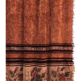 """Pair Drapes 5'5"""" x 3' Copper Worn Chenille / Floral Stripe Banded"""