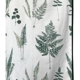Pair Drapes 6' x 4' Dark Green Leaf Print / Ribbon Edge / Eyelets