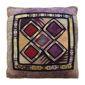 "Cushion 16"" x 16"" Purple Diamonds Printed Indian Silk Patchwork"