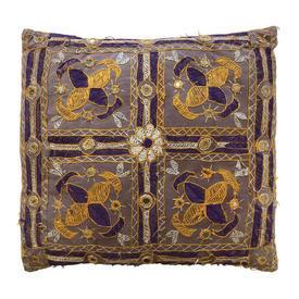 """Cushion 16"""" x 16"""" Tan Geo Indian Silk Emb / Mirrored"""
