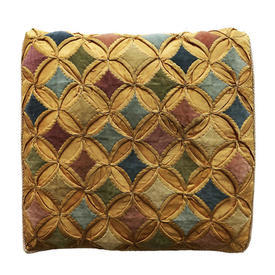 "Cushion 15"" x 16"" Mustard / Multi Circ & Diamond Silk Worn Patchwork"