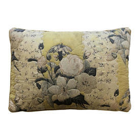 """Cushion 15"""" x 22"""" Yellow Floral Cotton / Outline Quilted"""
