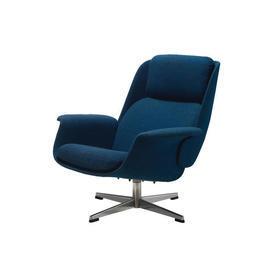Blue Fabric Lounge Chair on Chrome Base