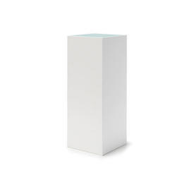White Square Thin Pedestal with Frosted Glass Top