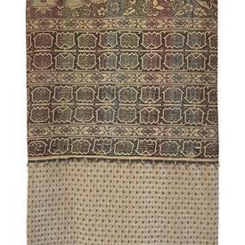 Bed Cover (K) 10' x 9' Sand Moorish Silky Panel / Geo Velvet Border