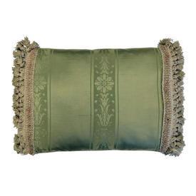 "Cushion 12"" x 18"" Sage Floral Stripe Silk / Tassel Fringe"