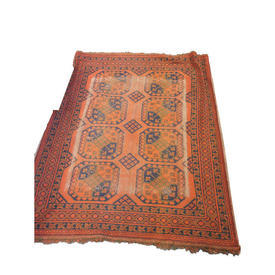 155Cm X 135Cm Orange & Navy 3 Diamond Patt Center Rug