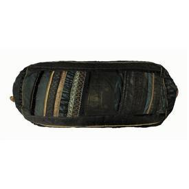 "Bolster 27"" x 8"" Black / Bottle Metallic Silk & Organza Banded / Braid"