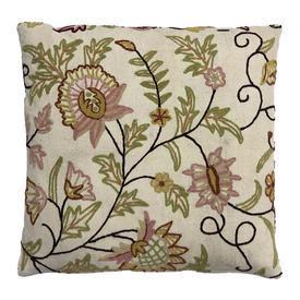 "Cushion 18"" x 18"" Lime Floral Crewel on Linen"