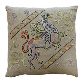 """Cushion 18"""" x 18"""" Beige / Lilac/Lime Griffin Silk Emb on Linen"""
