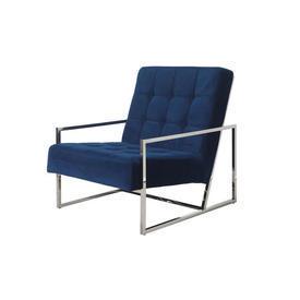 Marine Blue Velvet ''Nova'' Chair on Chrome Frame
