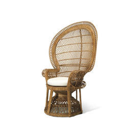 Large Natural Wicker Peacock Chair with White Seat Cushion