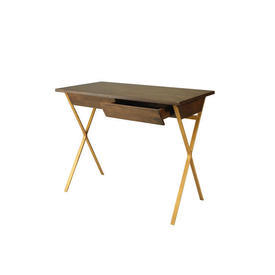 Mango Wood Small Home Office Desk with Gold Legs