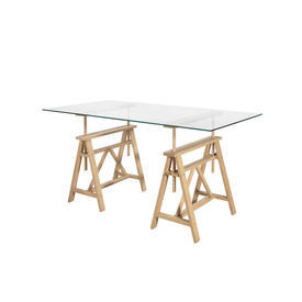 Glass ''Teatro'' Table with ADjustable Beech Wooden Trestle Legs