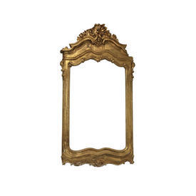 Large Ornate Distressed Gold Mirror Frame (without Mirror)