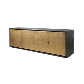 Brown Bronze & Brass Faux Shagreen ''Diego'' Sideboard