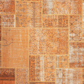 Orange Dyed Handknotted Patchwork Rug