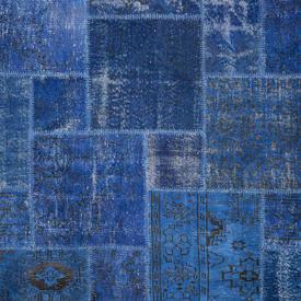 Dark Blue Dyed Handknotted Patchwork Rug