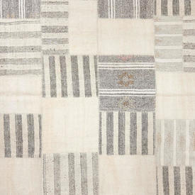 Cream & Grey Handknotted Patchwork Rug with Pink Detail