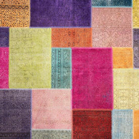 Multicoloured Dyed Handknotted Patchwork Rug