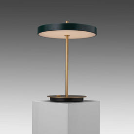 Brass ''Asteria'' Led Table Lamp with Green Disc Shade