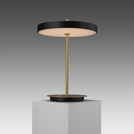 Brass ''Asteria'' Led Table Lamp with Black Disc Shade