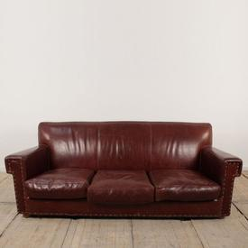 Burgundy Leather Baxter 3 Seater Sofa with Square Back & Arms