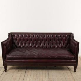 """5'9"""" Mahogany Reeded Frame 3 Seater Burgundy Leather Button Back Hall Sofa"""