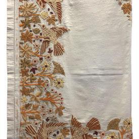 """Bed Cover (S) 7' x 4'6"""" Birds & Flowers Crewel on Linen"""