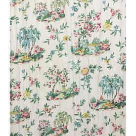 Pair Drapes 6' x 4' Turquoise Floral Scenes Cotton Sale 15.00 ea