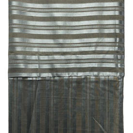 Fitted Bed Cover (Q) Dark Grey Stripe Damask
