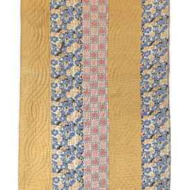 Patchwork Bedcover 7' x 6' Yellow / Blue Small Florals Stripe Quilted