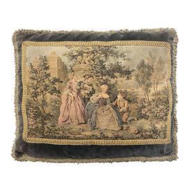 """Cushion 15"""" x 20"""" Figures in Garden Tapestry on Velvet"""
