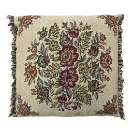 "Cushion 16"" x 16"" Beige / Maroon Floral Weave / Fringe"