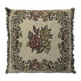 """Cushion 16"""" x 16"""" Beige / Ginger Floral Weave / Fringe"""