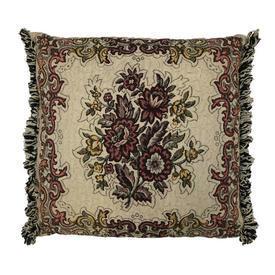 "Cushion 16"" x 16"" Beige / Burgundy Floral Weave / Fringe"