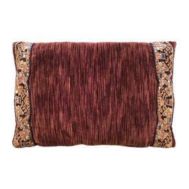 "Cushion 12"" x 18"" Chestnut Chenille / Geo Metallic Emb"