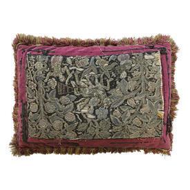"Shaped Cushion 16"" x 22"" Charcoal Shredded Indian Figures / Leaves Tapestry on Red Velvet"