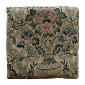 """Cushion 17"""" x 17"""" Bottle Large Floral Urns Scroll Faded Linen"""