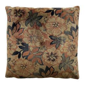 "Cushion 17"" x 17"" Airforce / Pale Orange Geo Floral Plush"