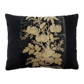 "Cushion 10"" x 14"" Black Lilies & Foliage Print Velvet"