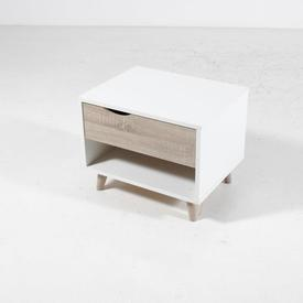 White 1 Draw on Oak Splay Feet with Cut Out Crescent Handles