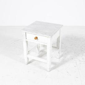 White Planked Top 1 Drawer Wooden Knob Bedside Cabinet